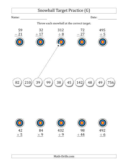The Winter Snowball Target Practice Mixed Operations with Smaller Numbers (G) Math Worksheet