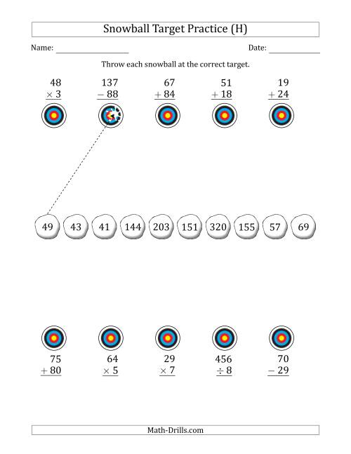 The Winter Snowball Target Practice Mixed Operations with Smaller Numbers (H) Math Worksheet