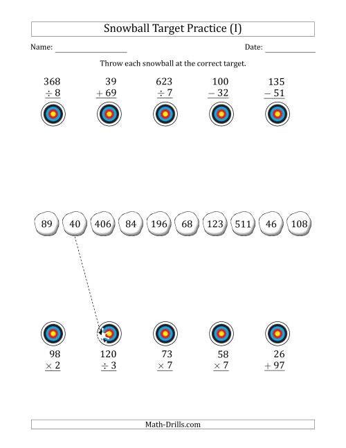 The Winter Snowball Target Practice Mixed Operations with Smaller Numbers (I) Math Worksheet