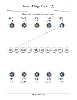 Winter Snowball Target Practice Mixed Operations with Larger Numbers