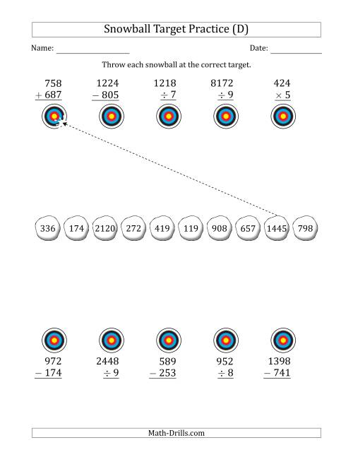 The Winter Snowball Target Practice Mixed Operations with Larger Numbers (D) Math Worksheet
