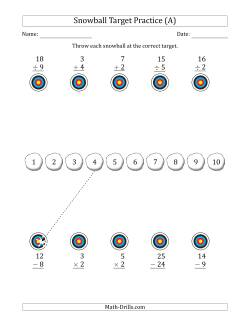 Winter Snowball Target Practice Mixed Operations with Sequences