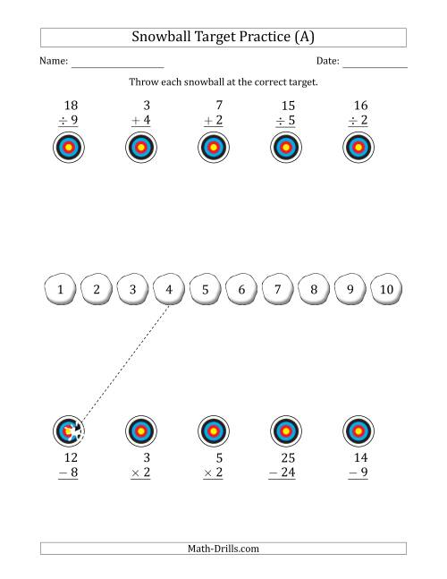 The Winter Snowball Target Practice Mixed Operations with Sequences (A) Math Worksheet