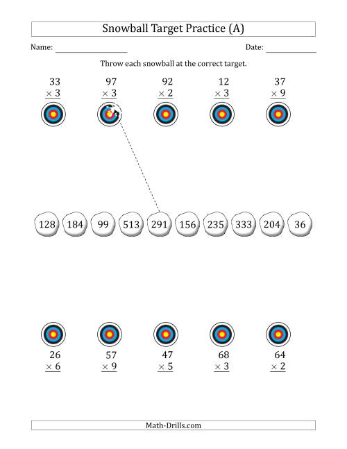 The Winter Snowball Target Practice Multiplying Two-Digit by One-Digit Numbers (A) Math Worksheet