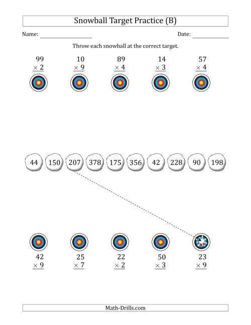 The Winter Snowball Target Practice Multiplying Two-Digit by One-Digit Numbers (B) Math Worksheet