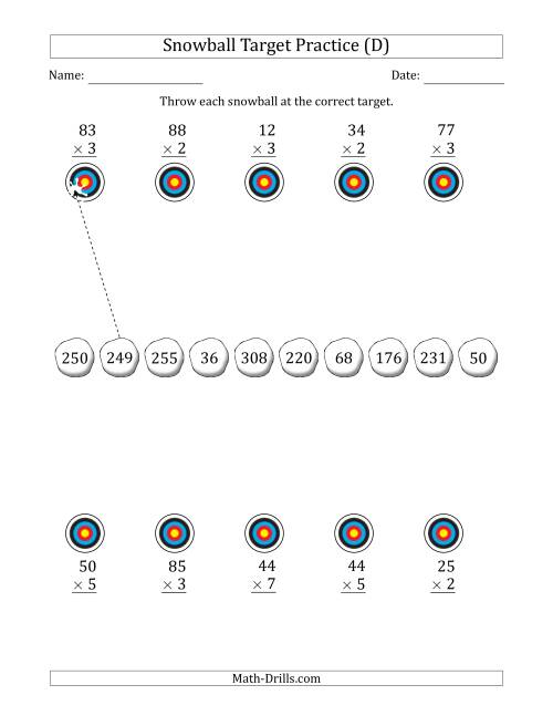 The Winter Snowball Target Practice Multiplying Two-Digit by One-Digit Numbers (D) Math Worksheet