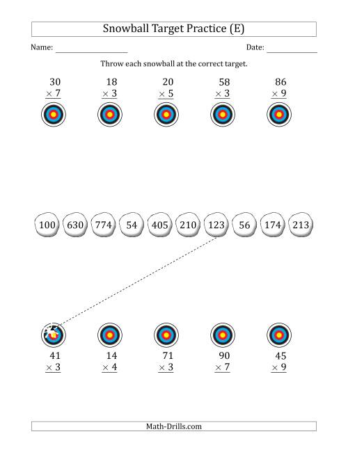 The Winter Snowball Target Practice Multiplying Two-Digit by One-Digit Numbers (E) Math Worksheet