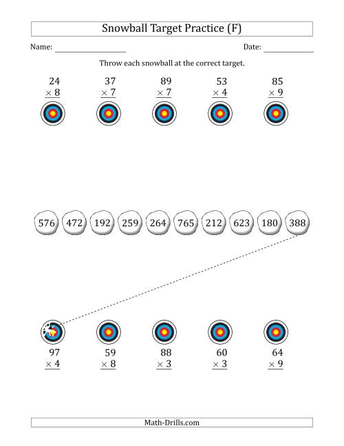 The Winter Snowball Target Practice Multiplying Two-Digit by One-Digit Numbers (F) Math Worksheet