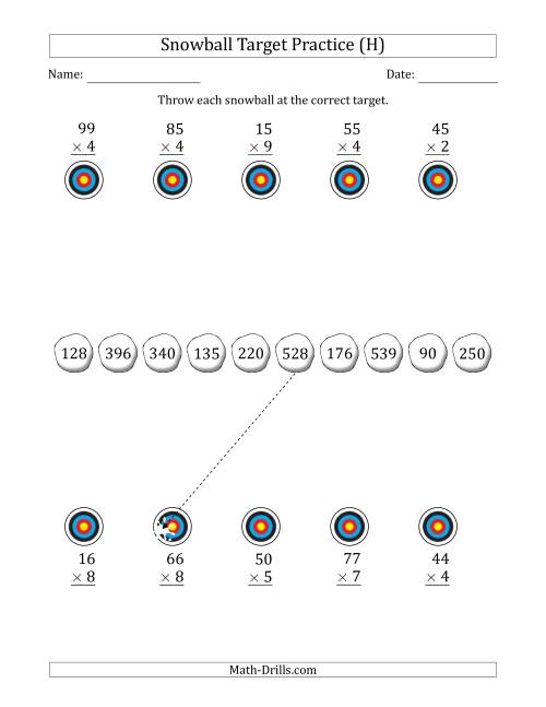The Winter Snowball Target Practice Multiplying Two-Digit by One-Digit Numbers (H) Math Worksheet