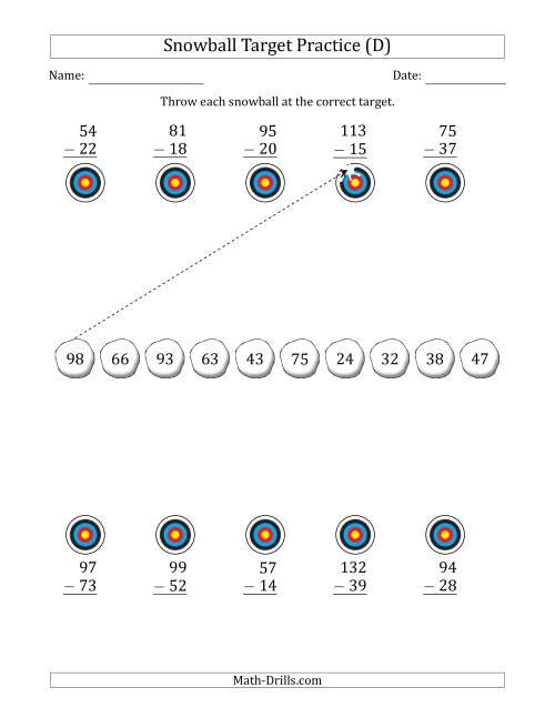 The Winter Snowball Target Practice Subtracting Two-Digit Numbers (D) Math Worksheet