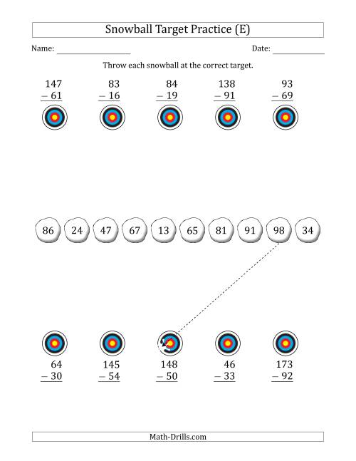 The Winter Snowball Target Practice Subtracting Two-Digit Numbers (E) Math Worksheet