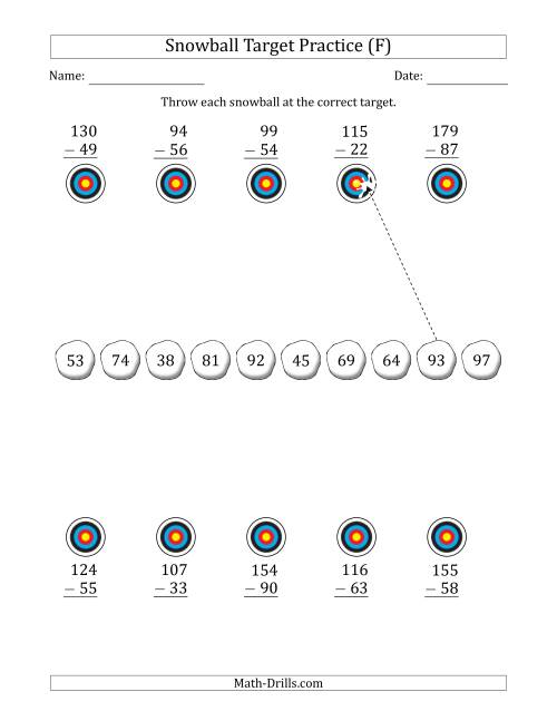 The Winter Snowball Target Practice Subtracting Two-Digit Numbers (F) Math Worksheet