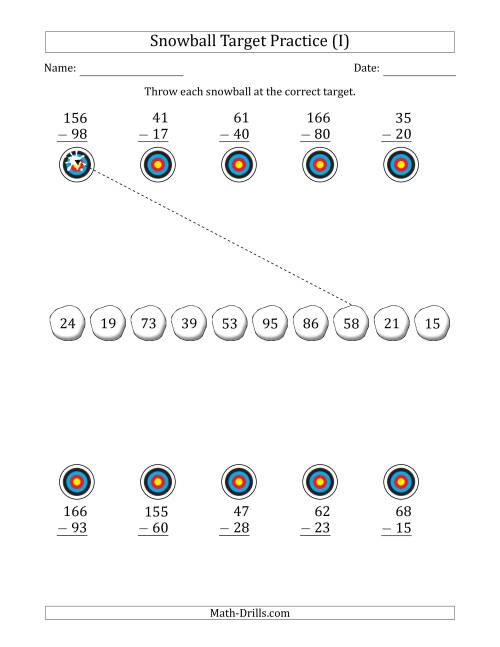 The Winter Snowball Target Practice Subtracting Two-Digit Numbers (I) Math Worksheet