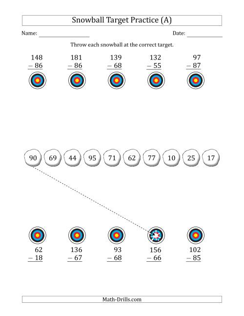 The Winter Snowball Target Practice Subtracting Two-Digit Numbers (All) Math Worksheet