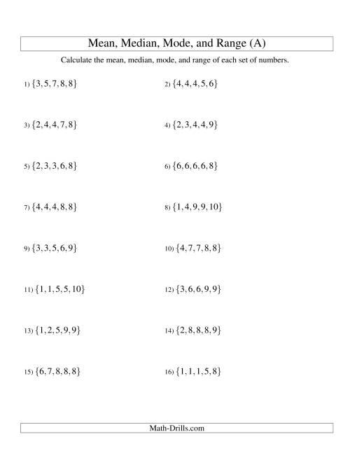 Math Worksheets Mean Median Mode Range 1704 · 2200