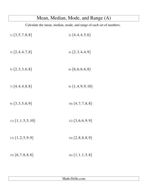 The Mean, Median, Mode and Range -- Sorted Sets (Sets of 5 from 1 to 10) (A) Math Worksheet