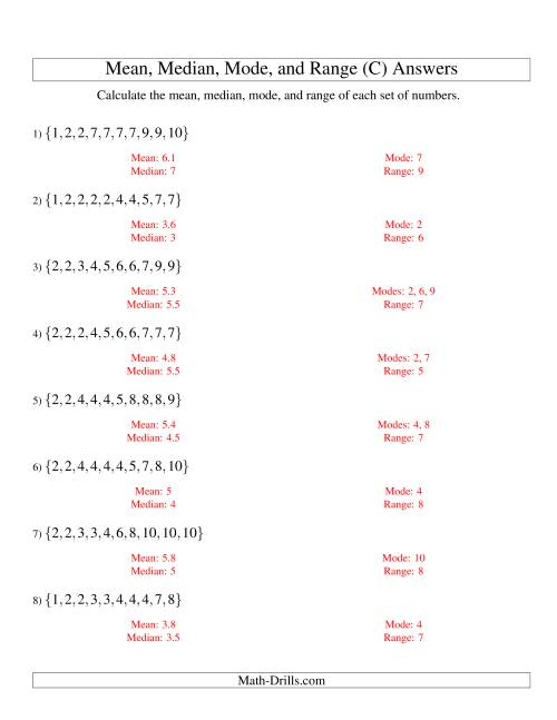 The Mean, Median, Mode and Range -- Sorted Sets (Sets of 10 from 1 to 10) (C) Math Worksheet Page 2