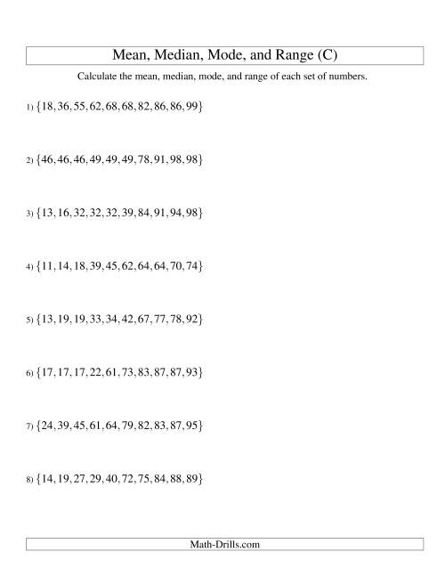 The Mean, Median, Mode and Range -- Sorted Sets (Sets of 10 from 10 to 99) (C) Math Worksheet