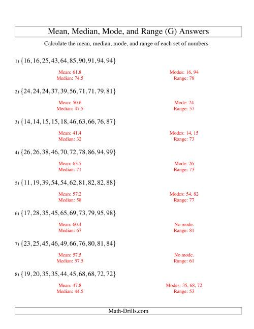 The Mean, Median, Mode and Range -- Sorted Sets (Sets of 10 from 10 to 99) (G) Math Worksheet Page 2