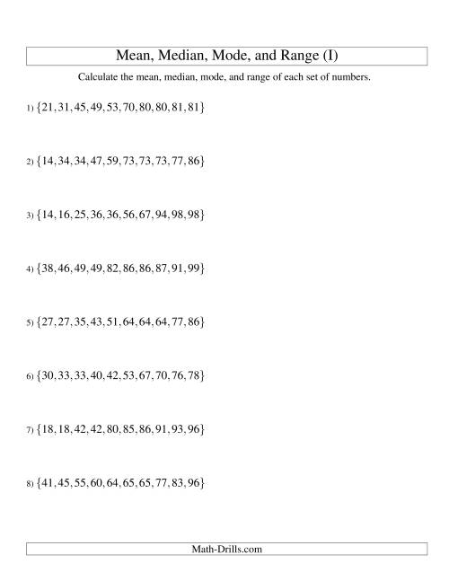 The Mean, Median, Mode and Range -- Sorted Sets (Sets of 10 from 10 to 99) (I) Math Worksheet