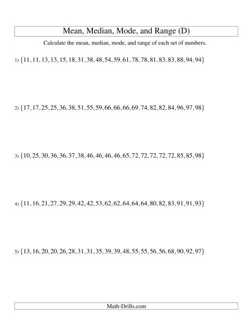 The Mean, Median, Mode and Range -- Sorted Sets (Sets of 20 from 10 to 99) (D) Math Worksheet