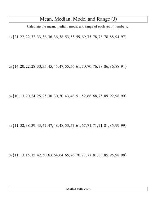 The Mean, Median, Mode and Range -- Sorted Sets (Sets of 20 from 10 to 99) (J) Math Worksheet