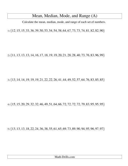 The Mean, Median, Mode and Range -- Sorted Sets (Sets of 20 from 10 to 99) (All) Math Worksheet