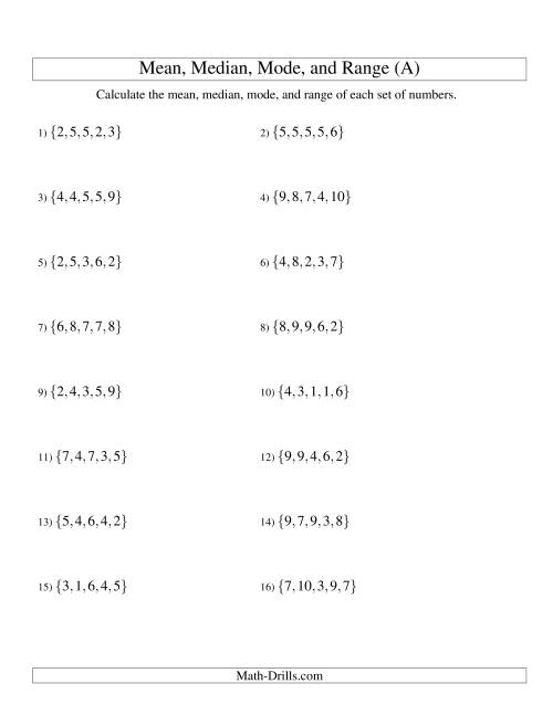 The Mean, Median, Mode and Range -- Unsorted Sets (Sets of 5 from 1 to 10) (A) Math Worksheet