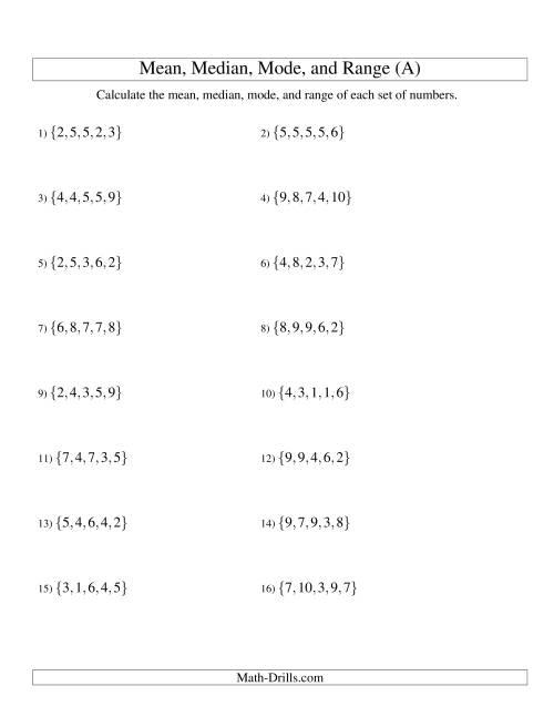 Mean Median Mode And Range Unsorted Sets Sets Of 5