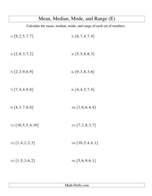 The Mean, Median, Mode and Range -- Unsorted Sets (Sets of 5 from 1 to 10) (E) Math Worksheet
