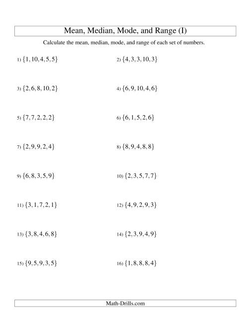 The Mean, Median, Mode and Range -- Unsorted Sets (Sets of 5 from 1 to 10) (I) Math Worksheet