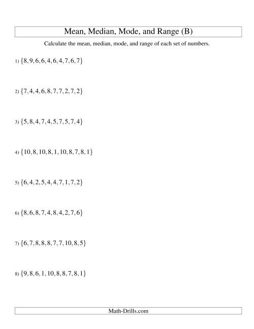 The Mean, Median, Mode and Range -- Unsorted Sets (Sets of 10 from 1 to 10) (B) Math Worksheet