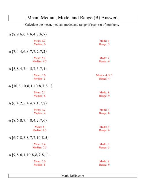 The Mean, Median, Mode and Range -- Unsorted Sets (Sets of 10 from 1 to 10) (B) Math Worksheet Page 2
