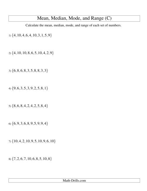 The Mean, Median, Mode and Range -- Unsorted Sets (Sets of 10 from 1 to 10) (C) Math Worksheet