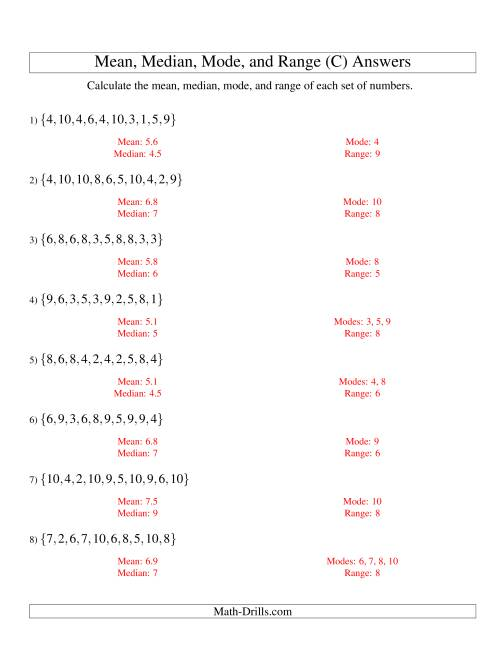 The Mean, Median, Mode and Range -- Unsorted Sets (Sets of 10 from 1 to 10) (C) Math Worksheet Page 2