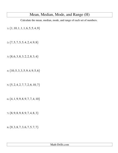 The Mean, Median, Mode and Range -- Unsorted Sets (Sets of 10 from 1 to 10) (H) Math Worksheet