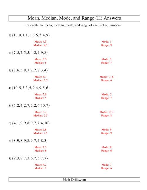 The Mean, Median, Mode and Range -- Unsorted Sets (Sets of 10 from 1 to 10) (H) Math Worksheet Page 2