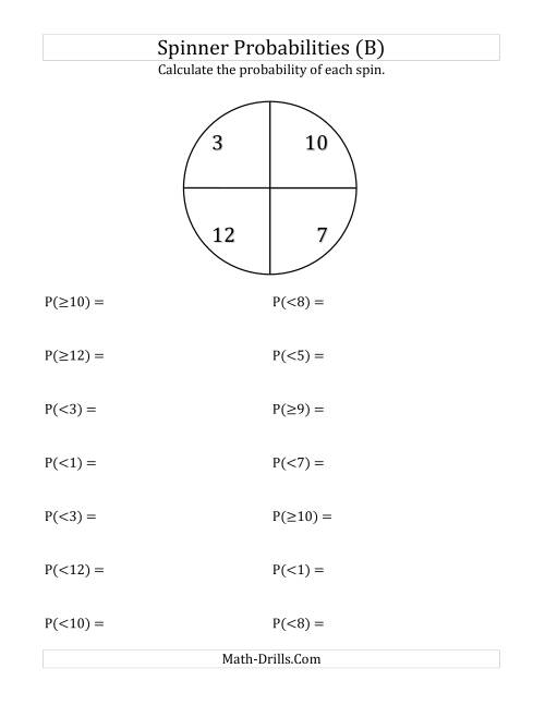The 4 Section Spinner Probabilities (B) Math Worksheet