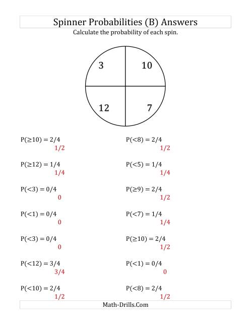 The 4 Section Spinner Probabilities (B) Math Worksheet Page 2
