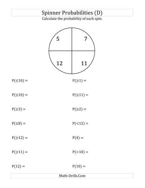 The 4 Section Spinner Probabilities (D) Math Worksheet