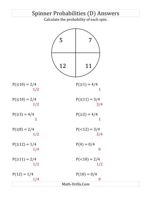 The 4 Section Spinner Probabilities (D) Math Worksheet Page 2