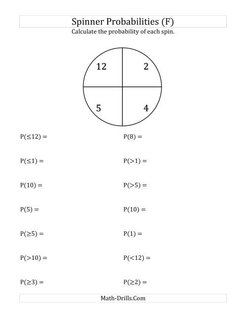 The 4 Section Spinner Probabilities (F) Math Worksheet