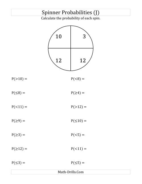 The 4 Section Spinner Probabilities (J) Math Worksheet