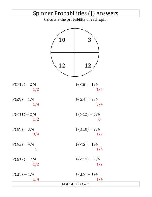 The 4 Section Spinner Probabilities (J) Math Worksheet Page 2