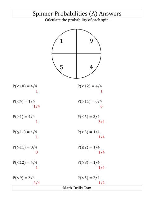 The 4 Section Spinner Probabilities (All) Math Worksheet Page 2