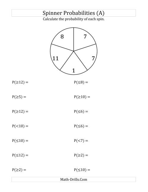 The 5 Section Spinner Probabilities (A) Math Worksheet