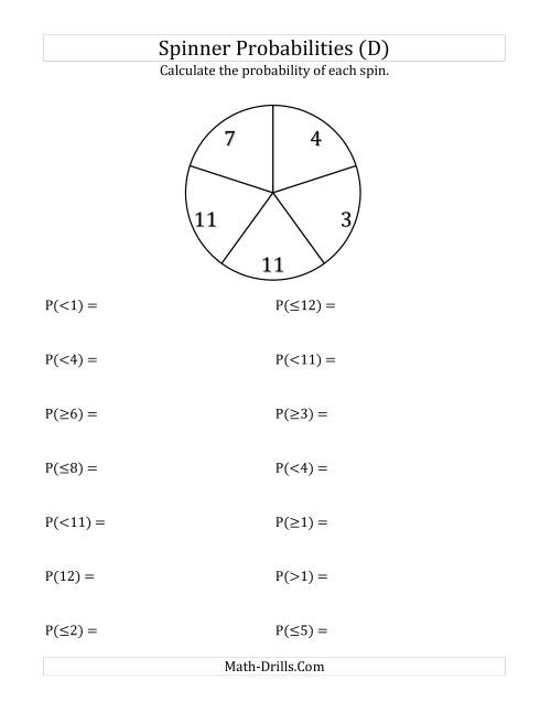 The 5 Section Spinner Probabilities (D) Math Worksheet