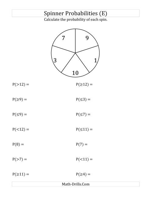 The 5 Section Spinner Probabilities (E) Math Worksheet