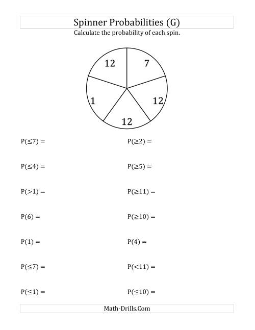 The 5 Section Spinner Probabilities (G) Math Worksheet