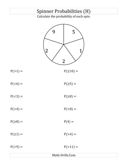 The 5 Section Spinner Probabilities (H) Math Worksheet